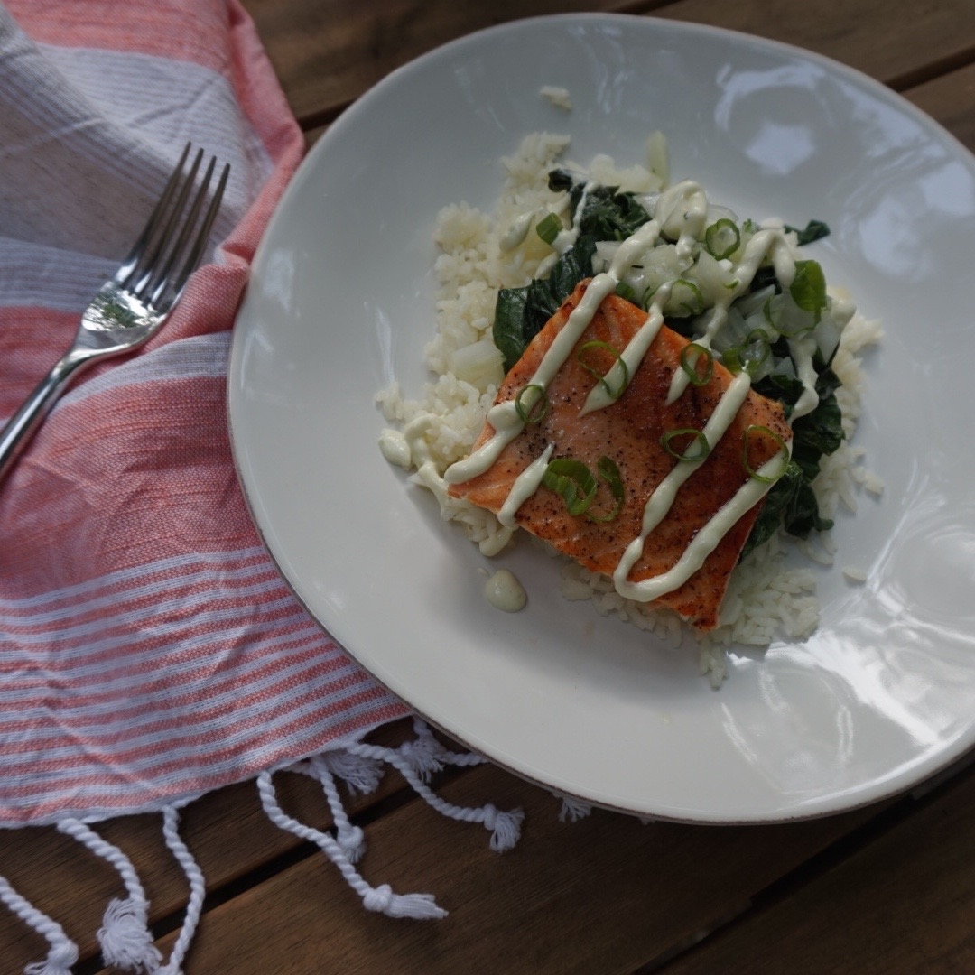 Pan-Seared Salmon with Wasabi Dressing and Bok Choy Dara