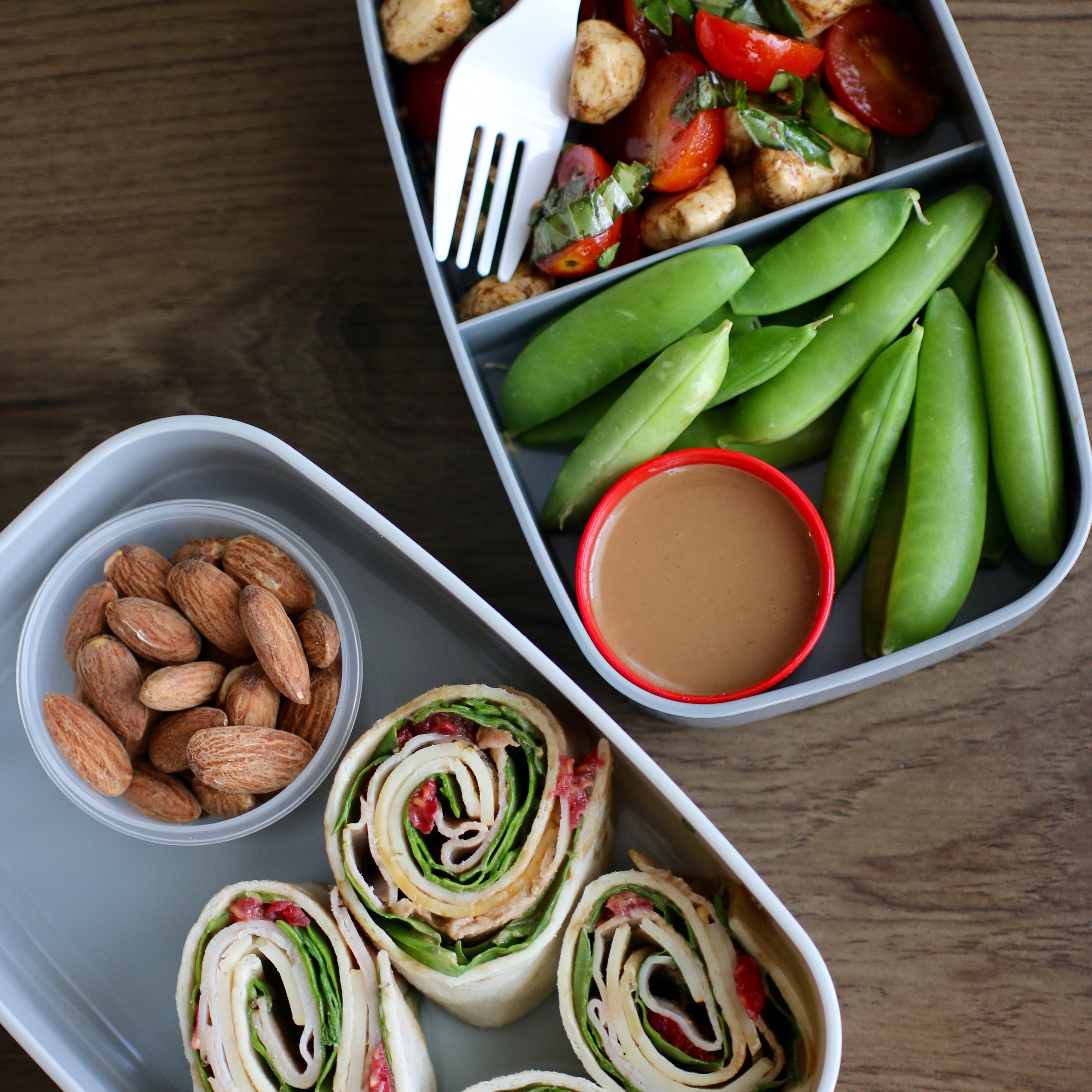 Instead of a wrap, try bite-sized roll-ups. And pair with nuts and edamame or snap peas for some extra healthy fats and protein to boost satiety for hours.