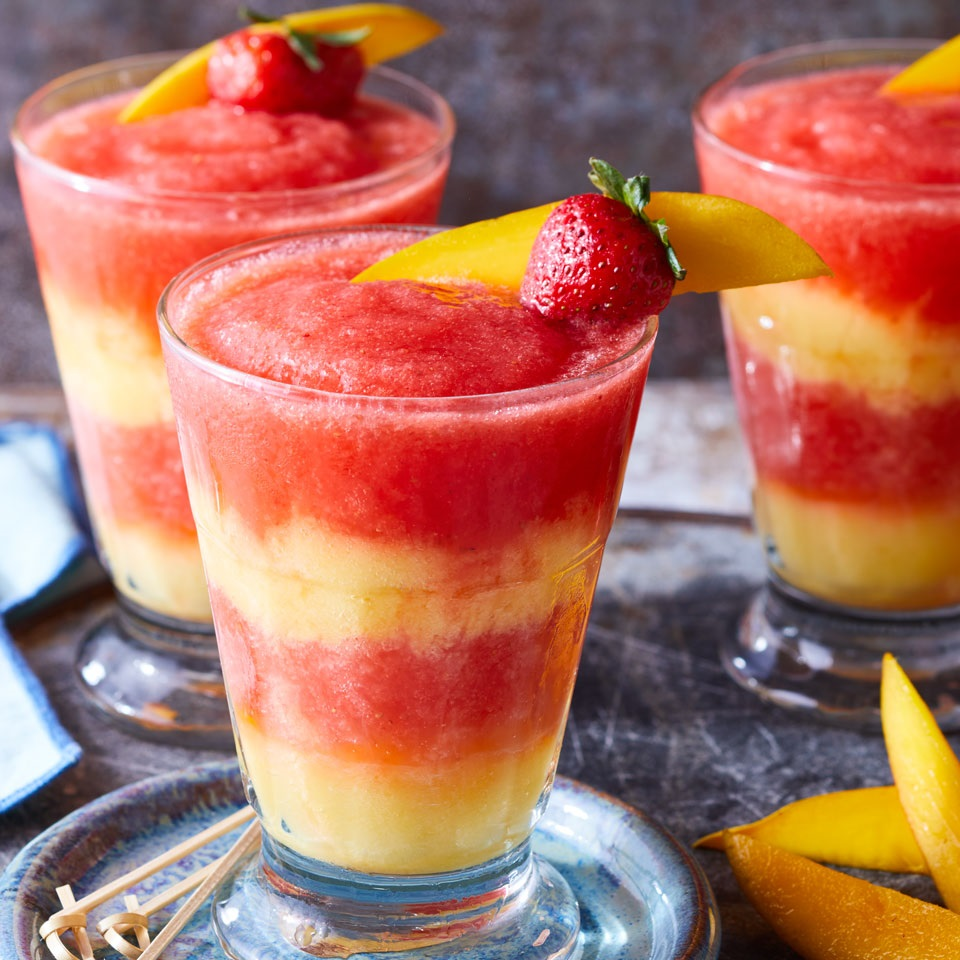 This frozen mocktail is so delicious and beautiful! Layers of blended strawberries and mango with a touch of zesty citrus flavor combine for a fun nonalcoholic drink without all the extra calories and sugar of a traditional restaurant margarita. Source: EatingWell.com, August 2017