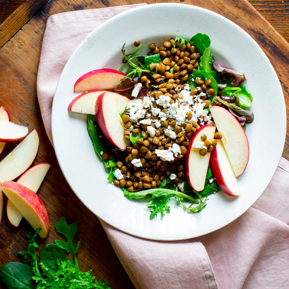 This salad with lentils, feta and apple is a satisfying vegetarian entree to whip together for lunch. To save time, swap in drained canned lentils--just make sure to look for low-sodium and give them a rinse before adding them to the salad.