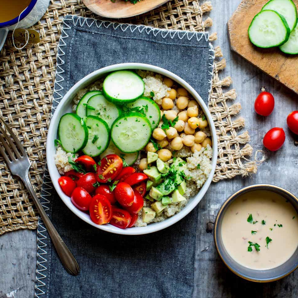 It seems Buddha bowls have as many variations as there are stars in the sky, and there is no wrong way to build one! But we prefer to keep things classic and simple with hummus, quinoa, avocado and loads of veggies!