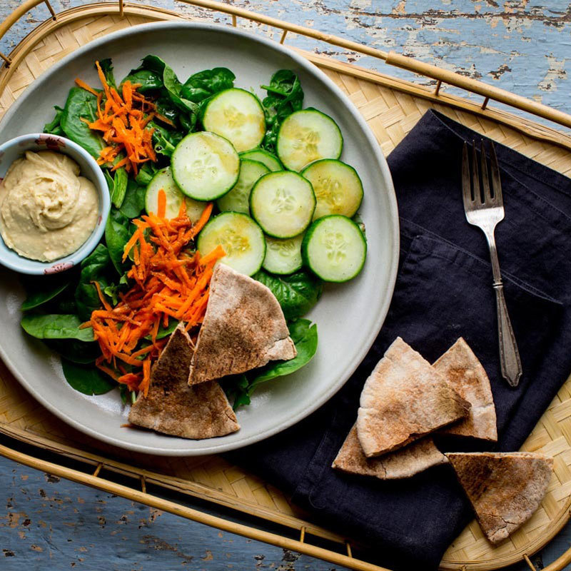 Green Salad with Pita Bread & Hummus Katie Webster