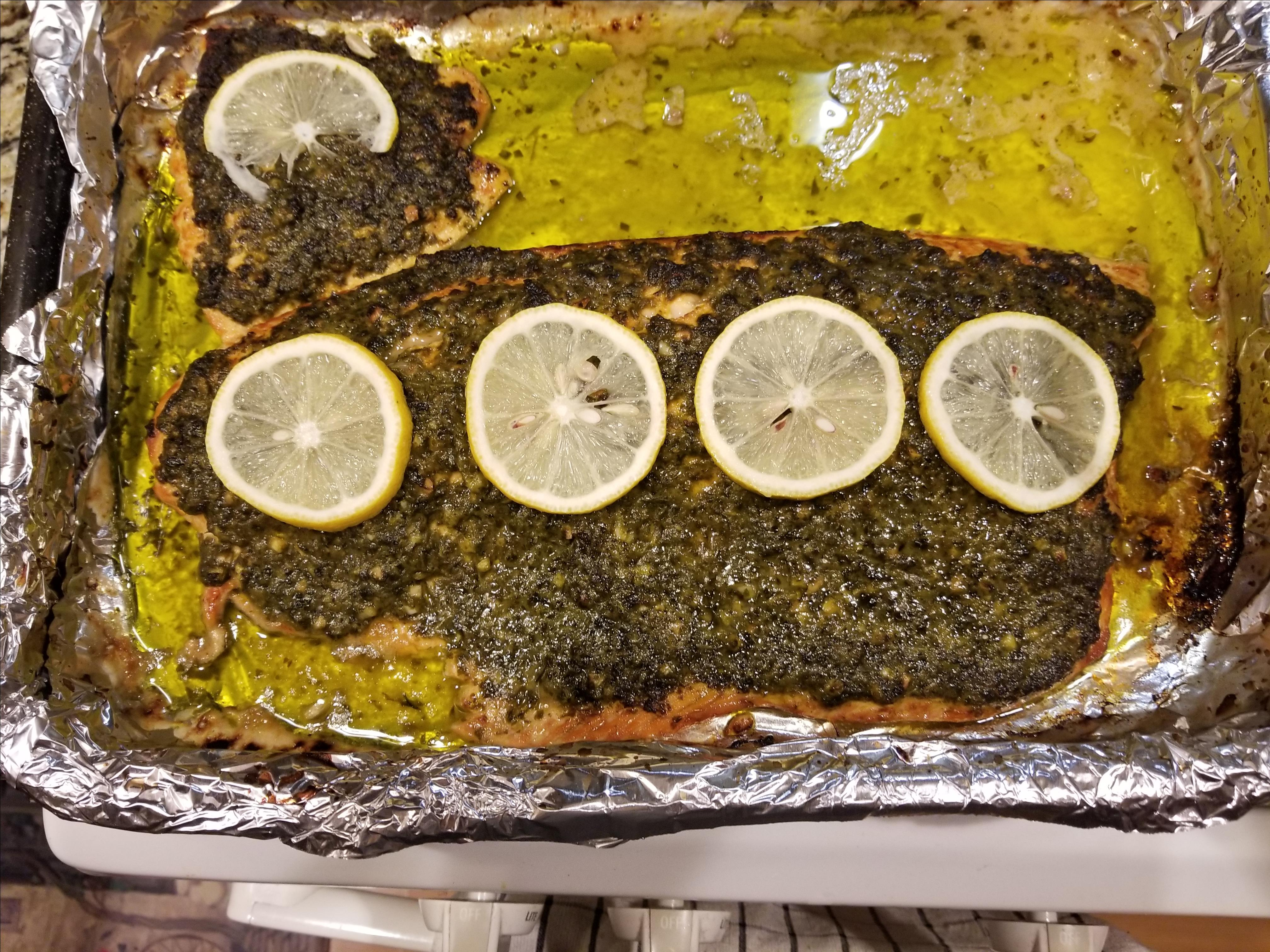 Stephan's Broiled Salmon Pesto Kandi Leatrice