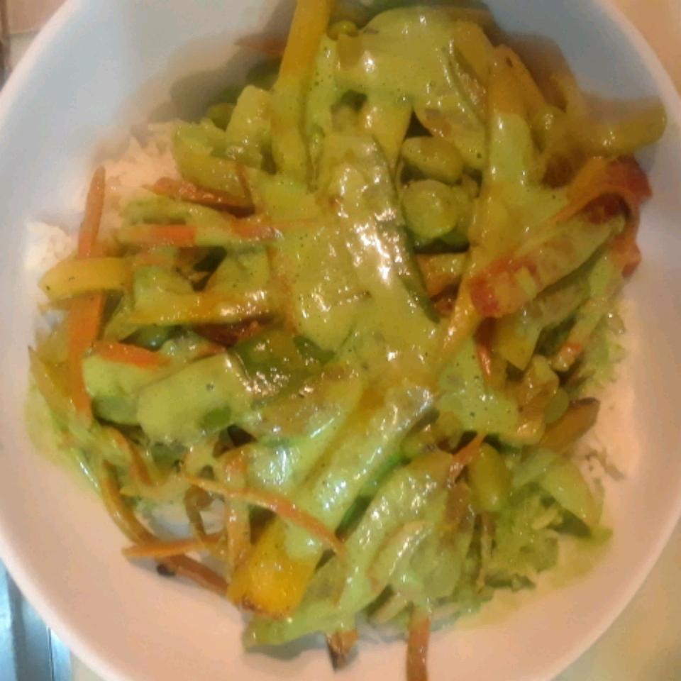 Adzuki Bean Mango Stir Fry with Cilantro Lime Coconut Sauce David Coooke
