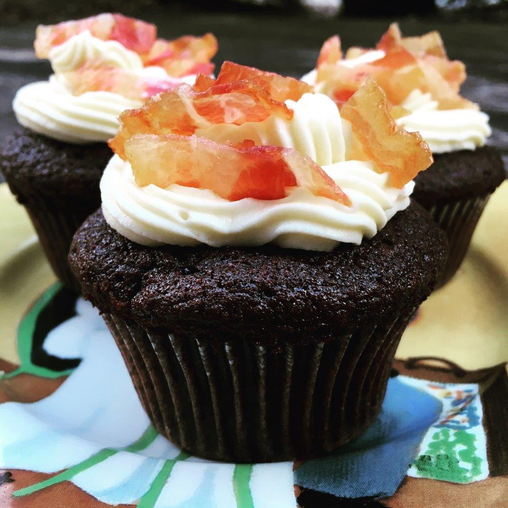 Chocolate-Stout Cupcakes with Maple-Bacon Frosting