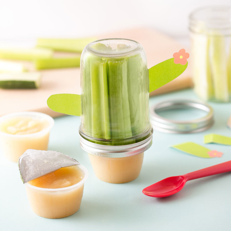 This adorable cactus jar is a perfect packable snack to take to school, sports practice or anywhere on the go! The applesauce cup fits into the lid of the jar for easy toting.Source: EatingWell.com, September 2017