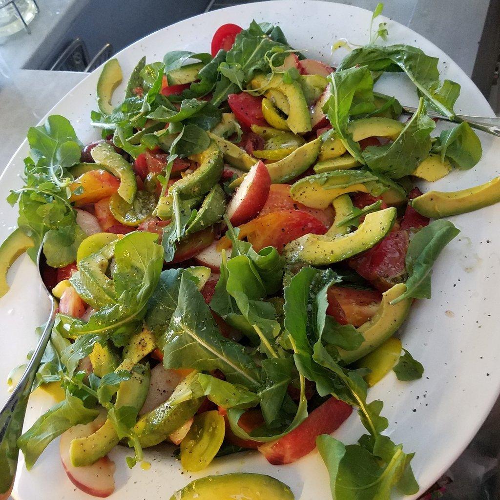Heirloom Tomato Salad with Nectarines, Avocado, and Arugula