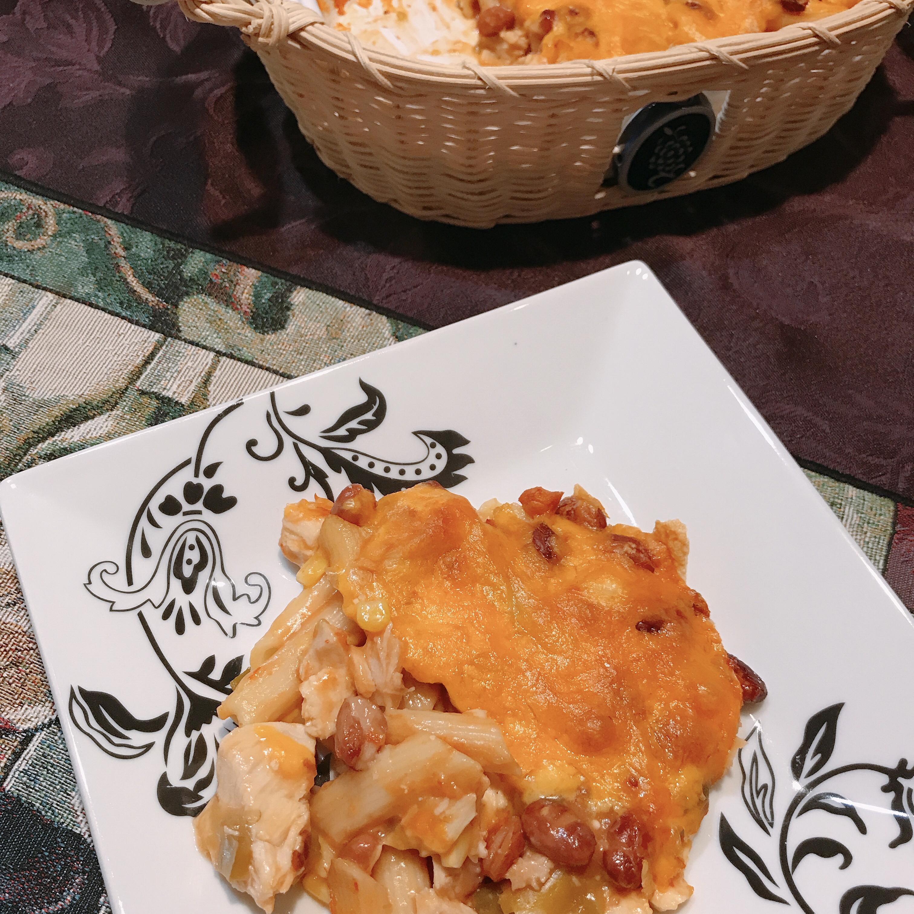 Chicken Enchilada Pasta Casserole thedailygourmet