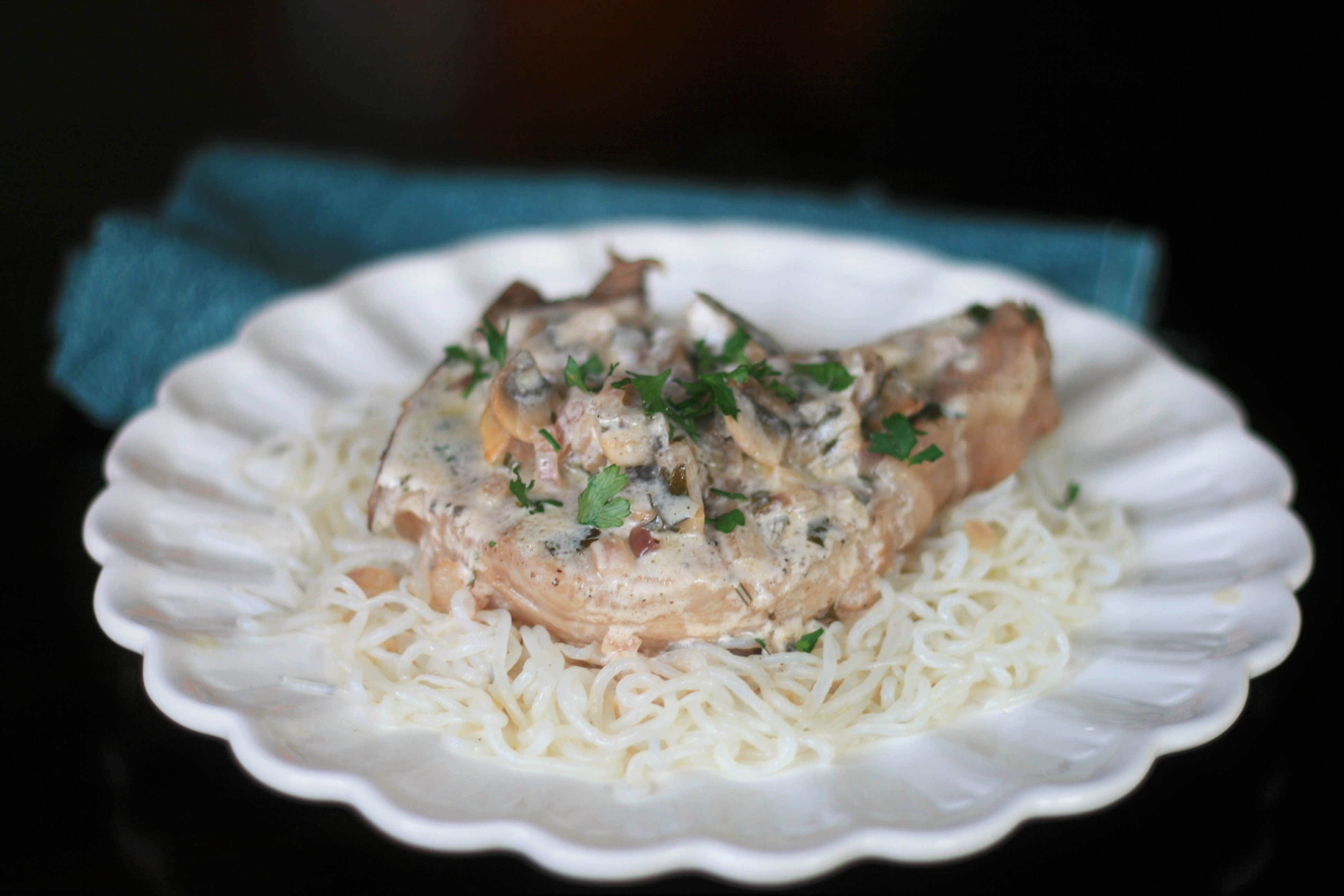 Wined and Dined Mushroom Pork Chops
