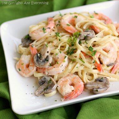 creamy shrimp pasta with mushrooms recipe