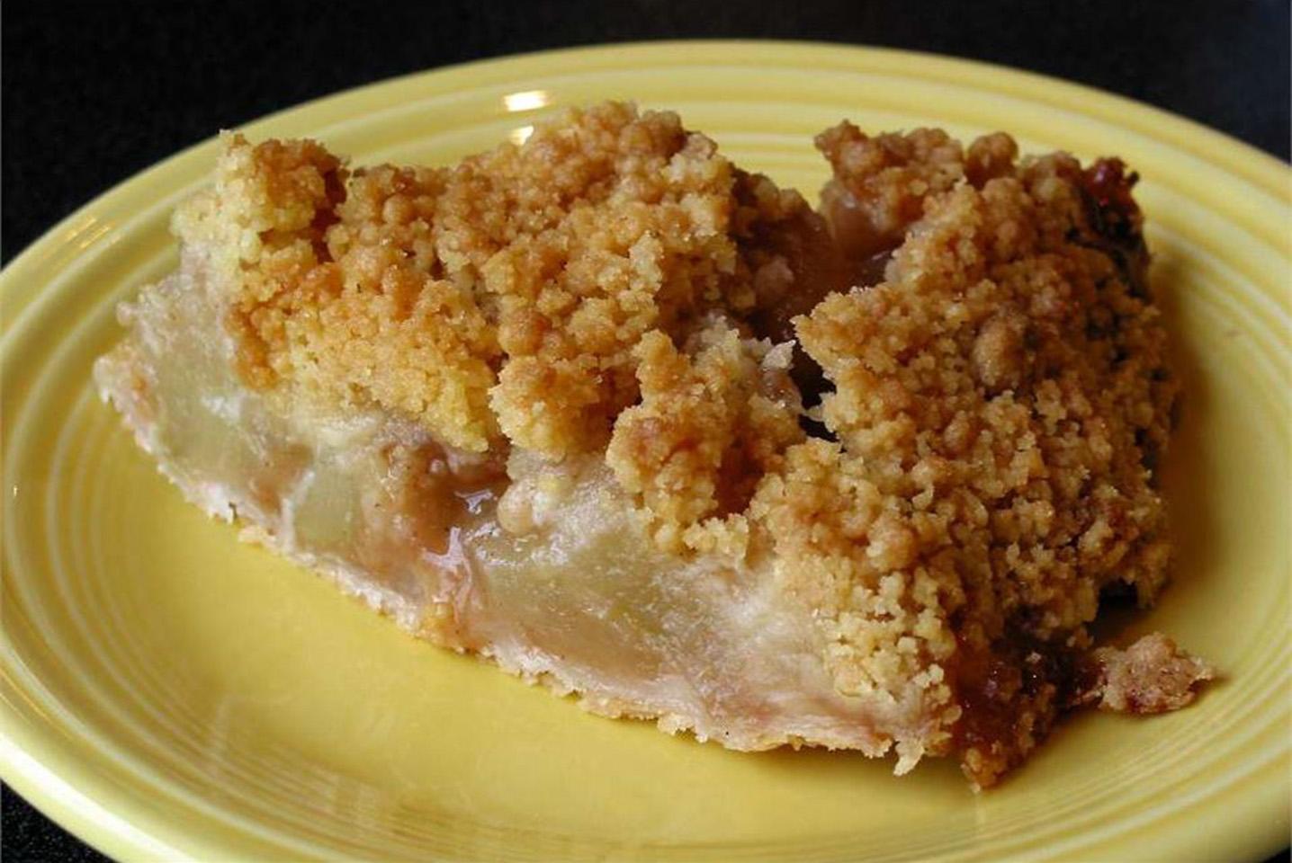 Apple Crunch Pie with Vanilla Sauce