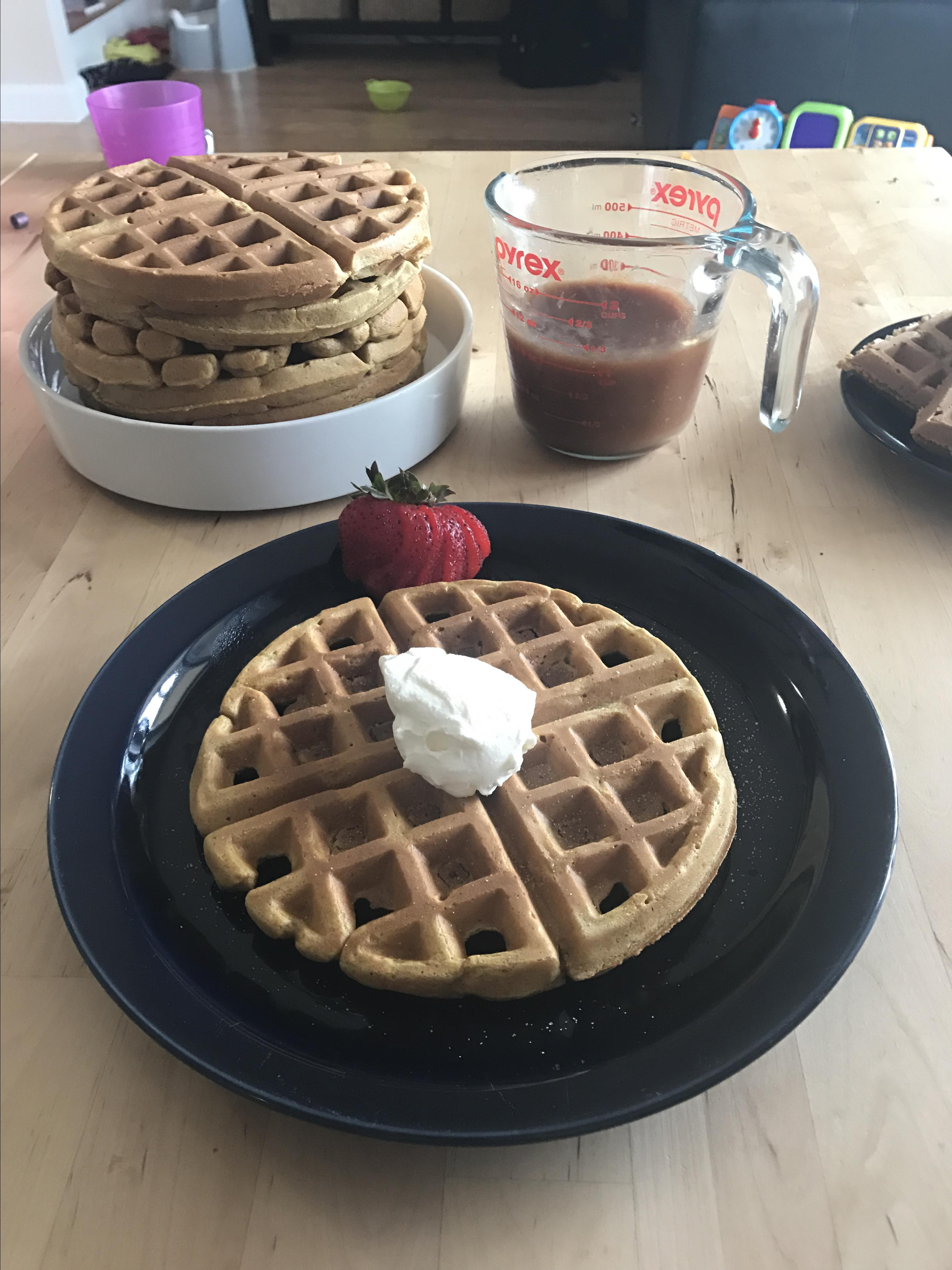 Pumpkin Waffles with Apple Cider Syrup Jasmine Radfern