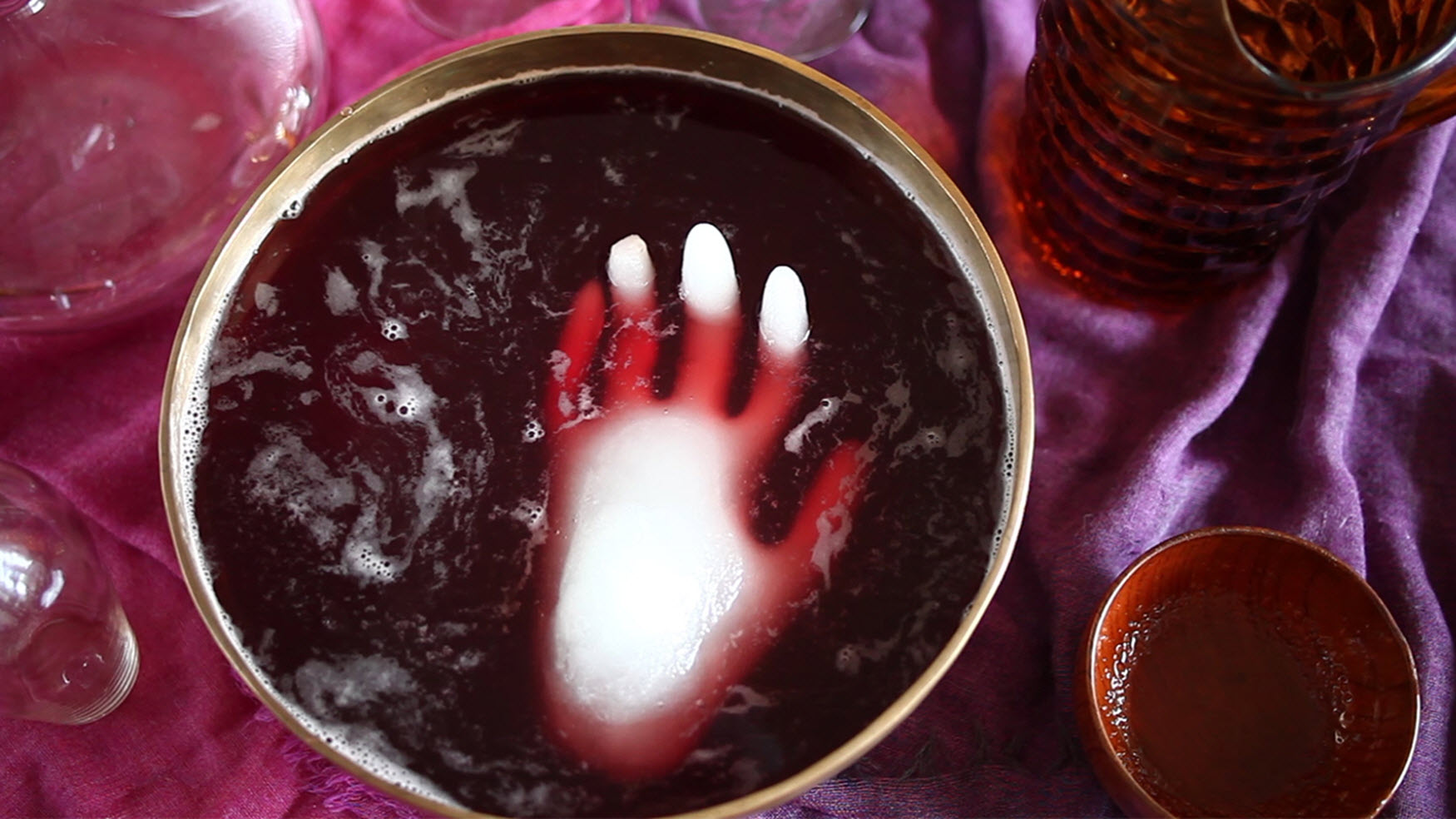 Halloween Punch with Frozen Hand