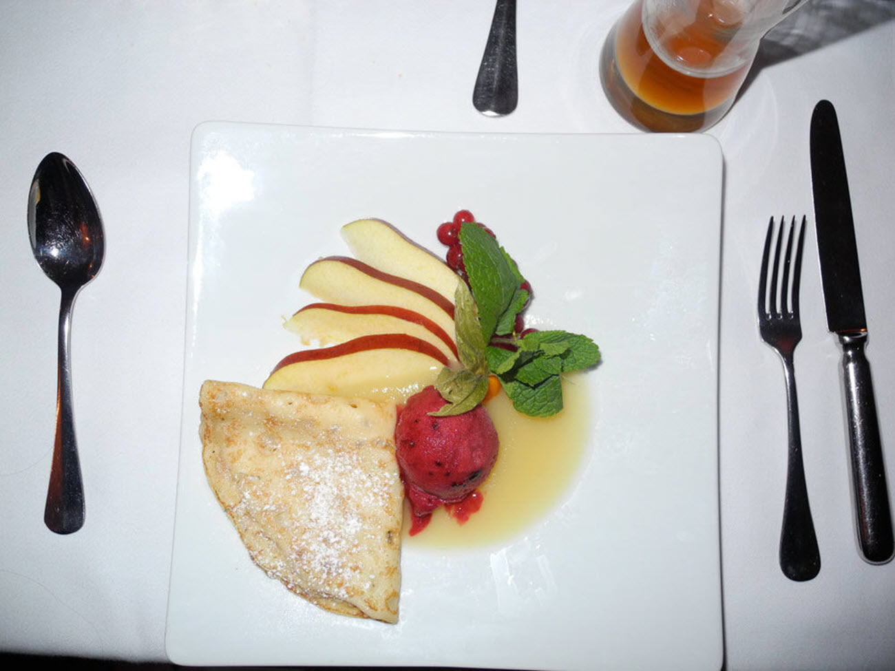 Dessert Crepes with Raspberry Sorbet