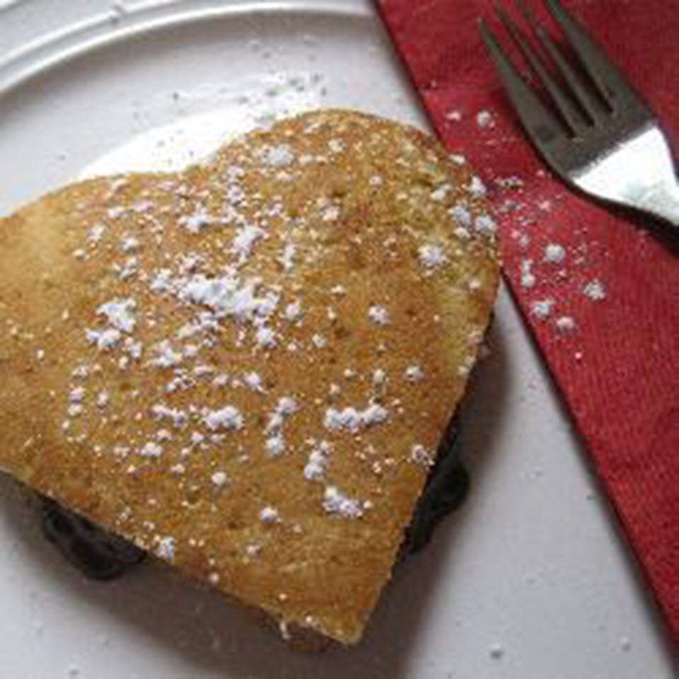 Heart-Shaped Pancakes with Chocolate