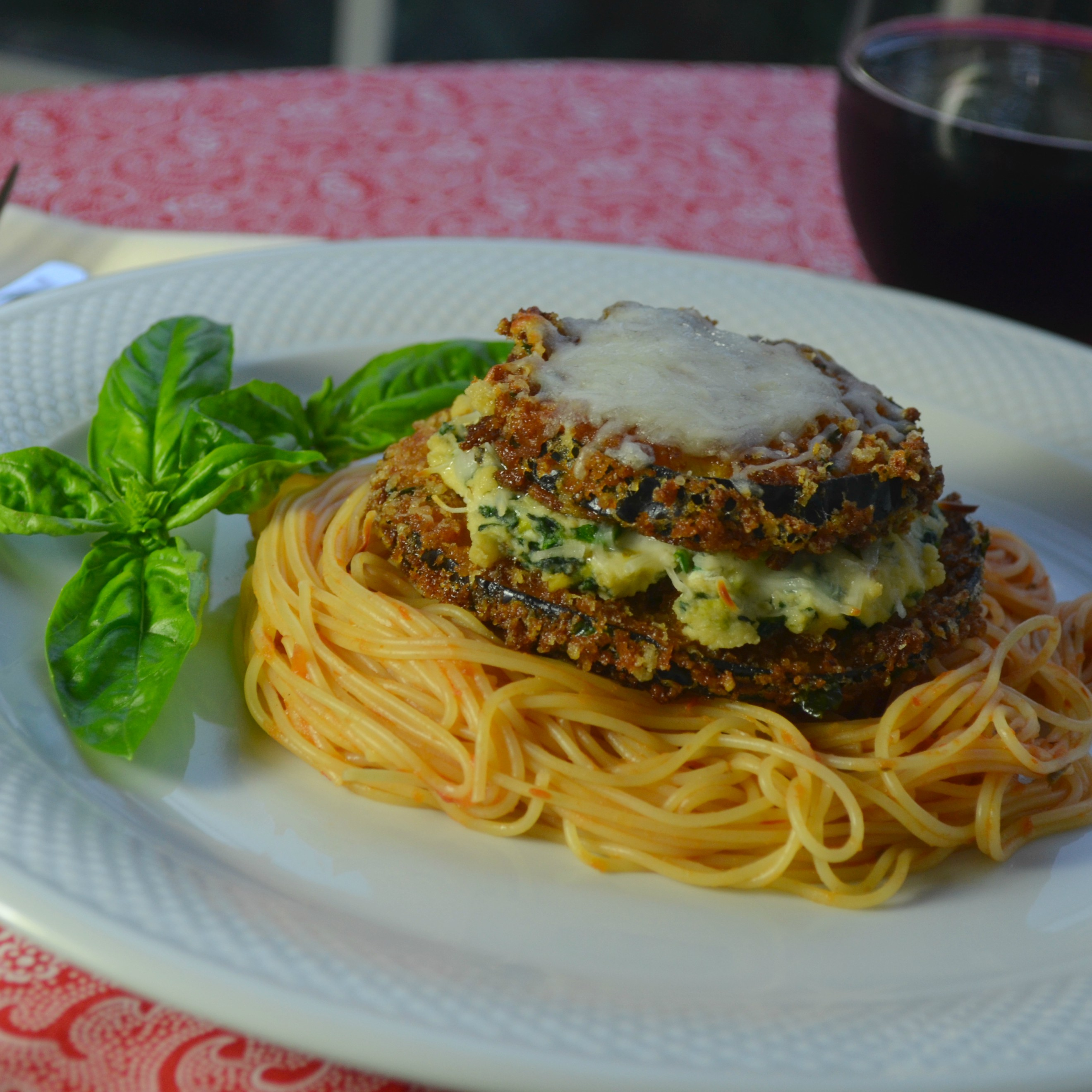 Panko and Beer Battered Eggplant Parmesan Stacks