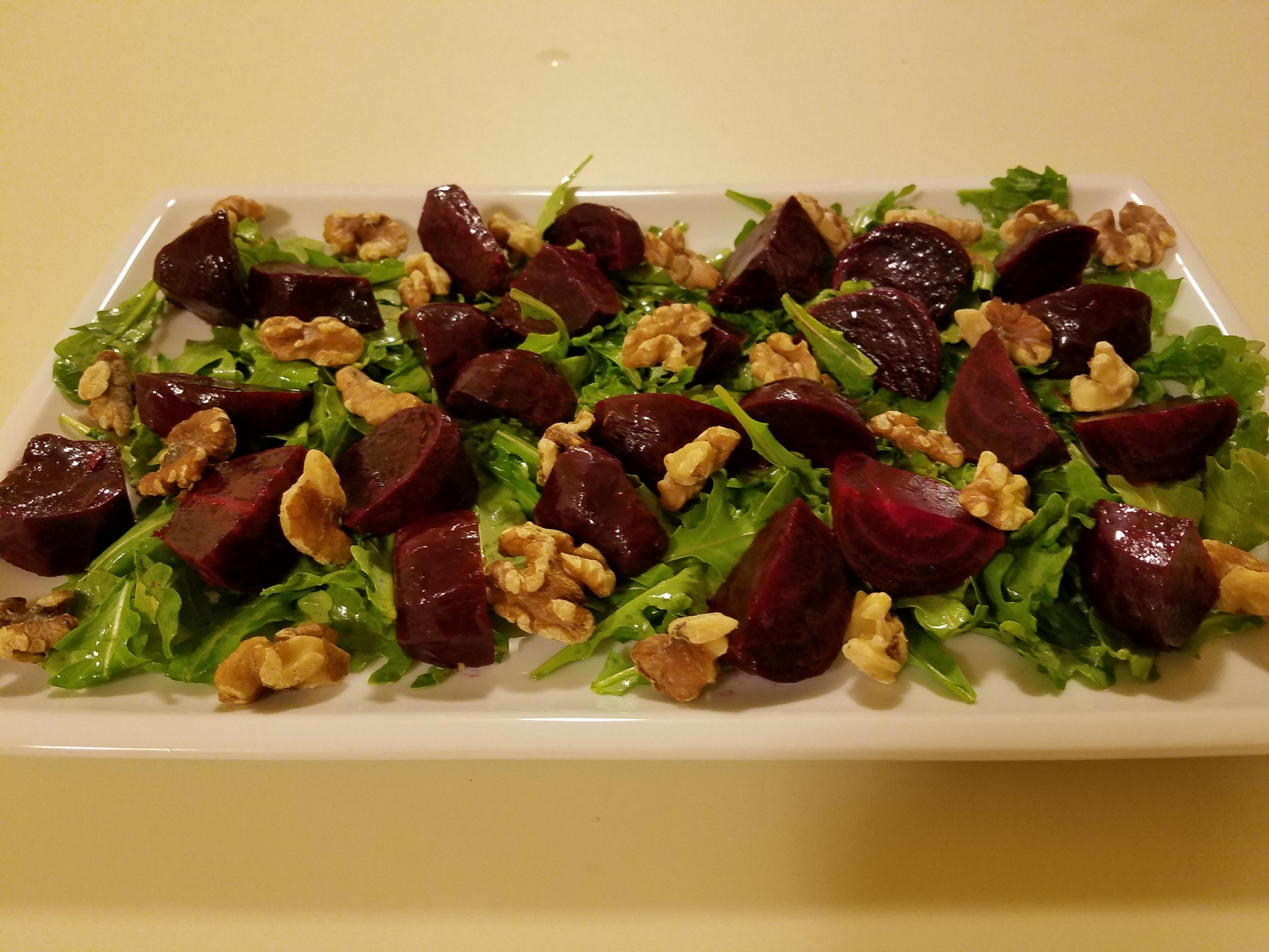 Roasted Beet, Arugula, and Walnut Salad Casablancaise