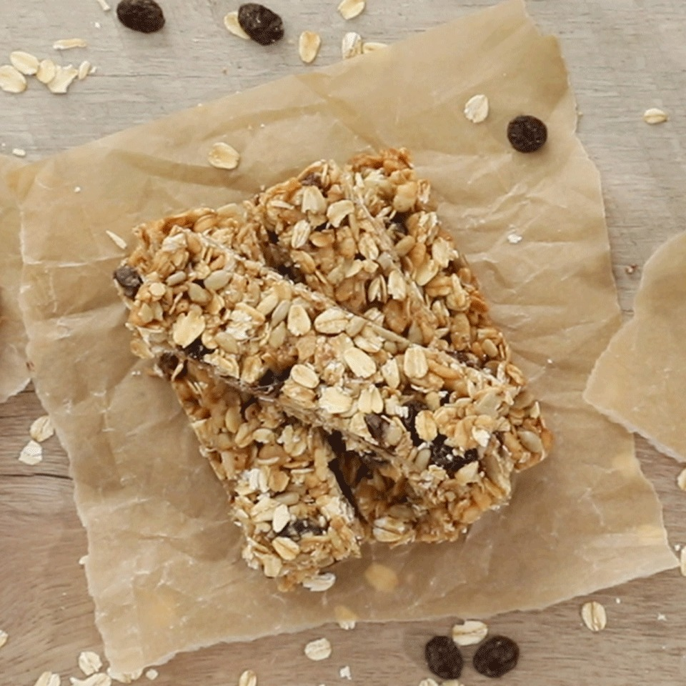 These bars, packed with the sweet flavors of raisins and cinnamon, are inspired by oatmeal raisin cookies--but they're completely nut-free so they're school-friendly. We tested several sticky sweeteners, including maple syrup and honey, but found brown rice syrup held the bars together the best.Source: EatingWell.com, October 2017