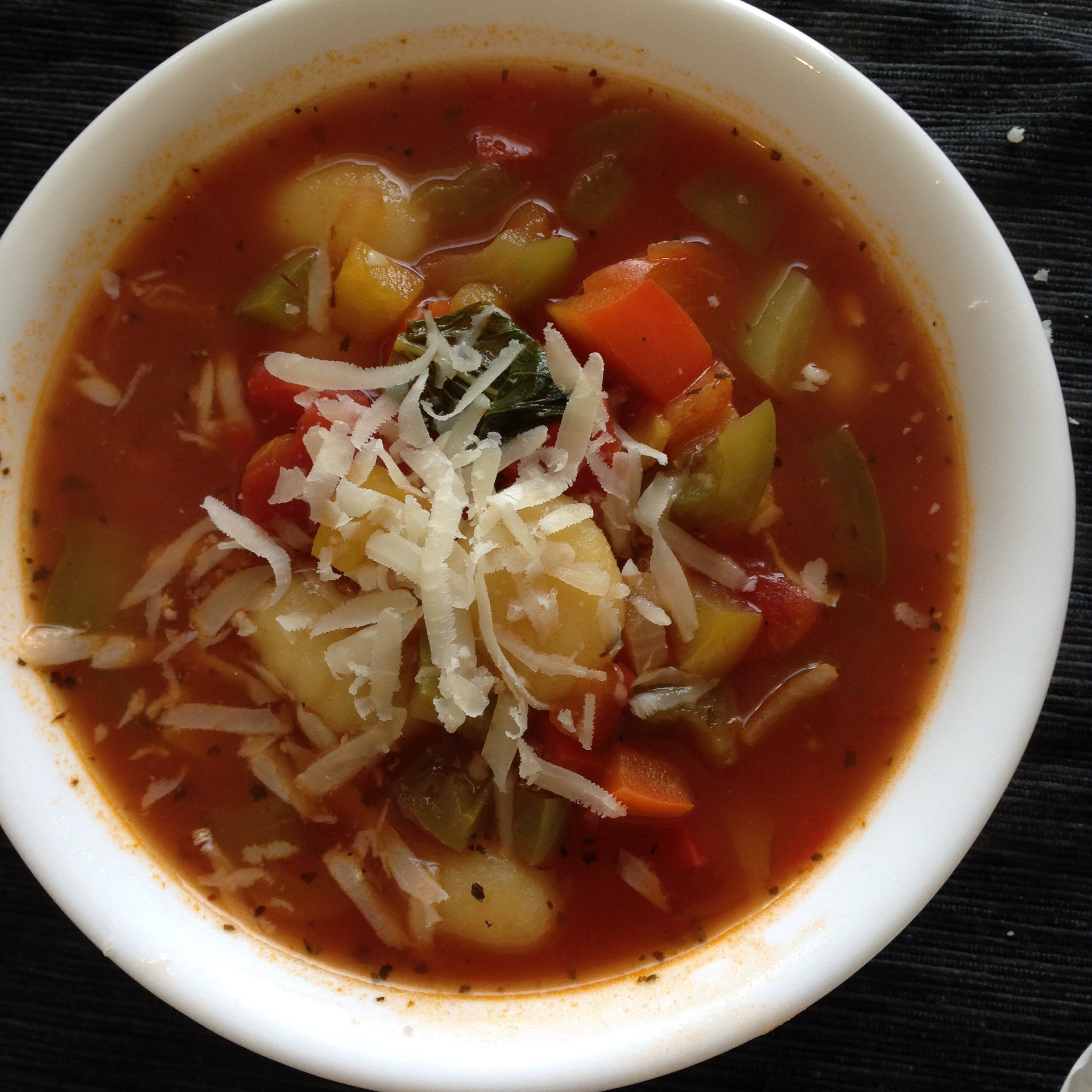 "This vegetarian cacciatore soup features packaged potato gnocchi, Cubanelle peppers, vegetable broth, and tomatoes. ""I'll make a big pot and eat it all week long!"" says Jill. ""It can be as spicy as you like and is delish. Tastes even better the next day after the flavors have had time to hang out."""