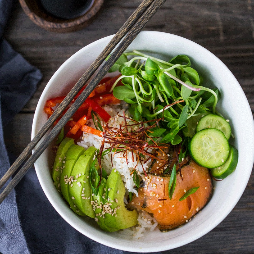 Get all the delicious flavors of sushi without the time-consuming rolling with this quick grain bowl recipe. All you need is 15 minutes to get this healthy dinner on the table or to pack it up for lunch at work. Source: EatingWell.com, October 2017