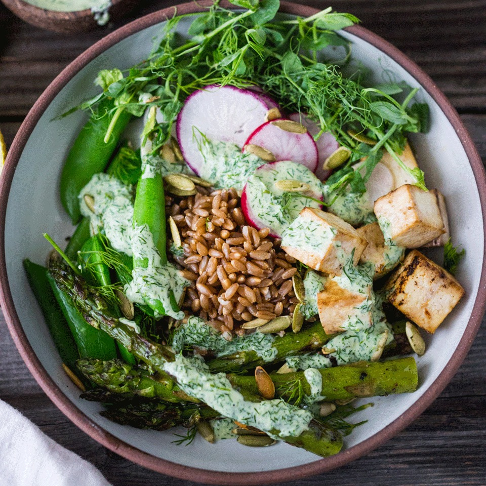 This healthy grain bowl packs in the greens with peas, asparagus and a creamy yogurt dressing. Tofu adds protein while keeping it vegetarian, but you could also swap in cooked shrimp or chicken for a satisfying dinner or packable lunch ready in just 15 minutes. Source: EatingWell.com, October 2017