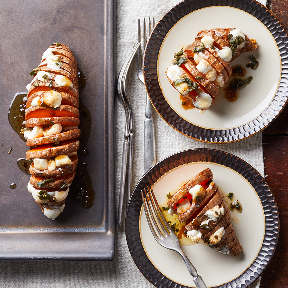 Hasselback Sweet Potatoes with Marshmallows Trusted Brands