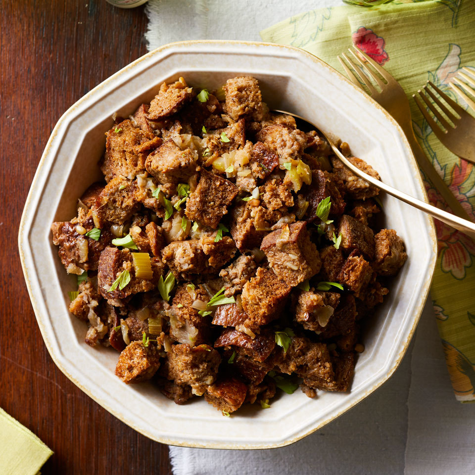 This sausage and apple stuffing is extra-moist and full of classic fall flavors. Using a slow cooker makes this side dish even easier and saves on oven space. Source: EatingWell.com, October 2017