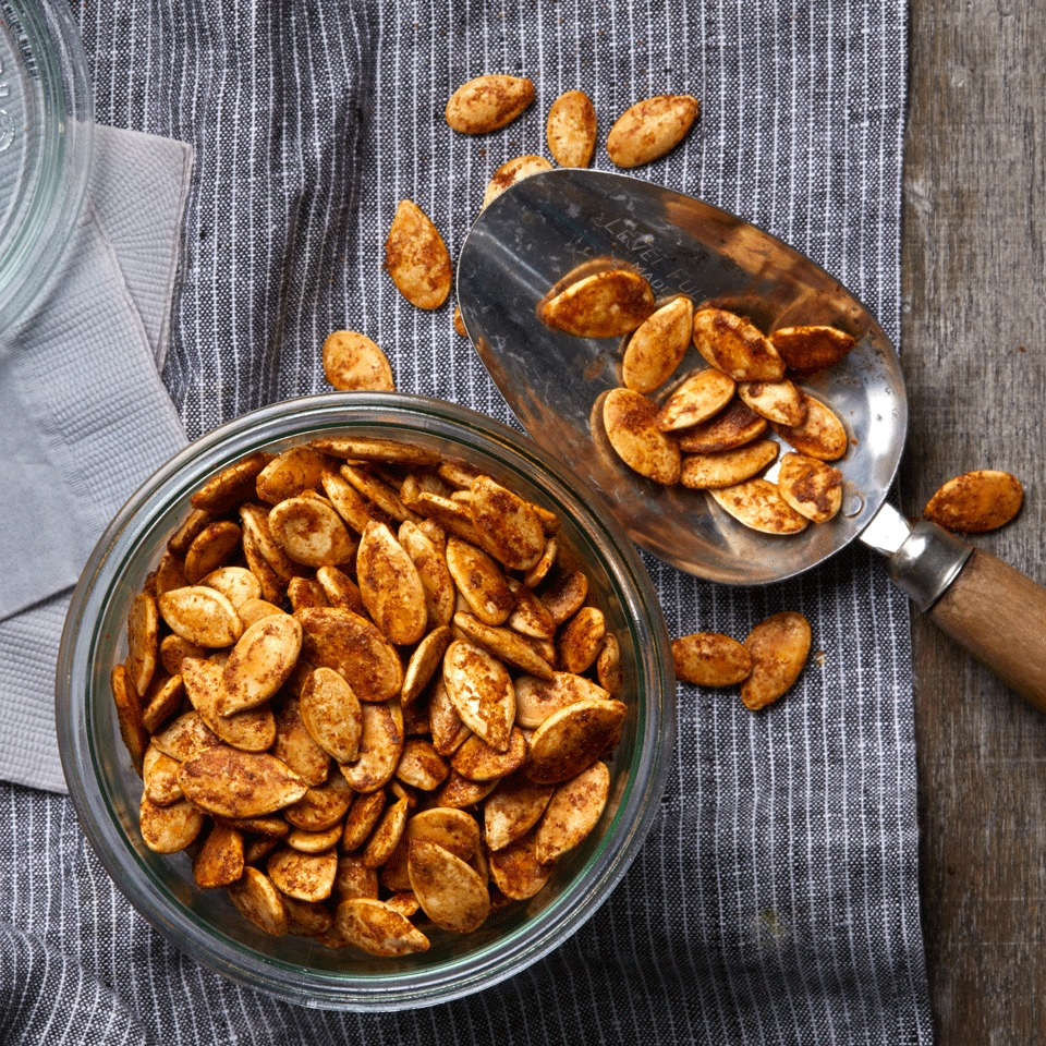 Salty, spicy and garlicky, these roasted pumpkin seeds are the perfect snack for any time of day. Increase the quantity of ground chile if you want 'em extra hot. Source: EatingWell.com, October 2017