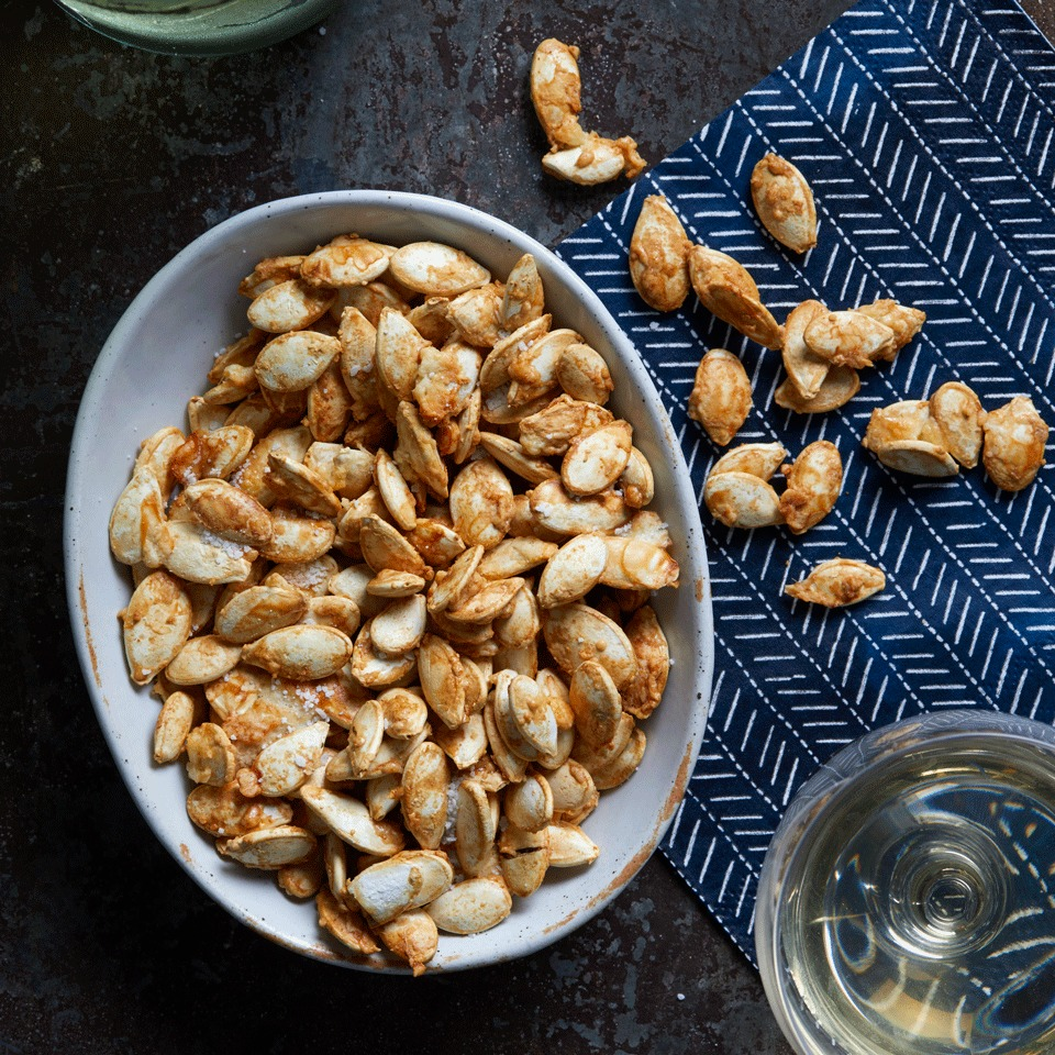 Garlic bread meets pumpkin seeds in this baked pumpkin seed recipe--and they really hit it off! Source: EatingWell.com, October 2017