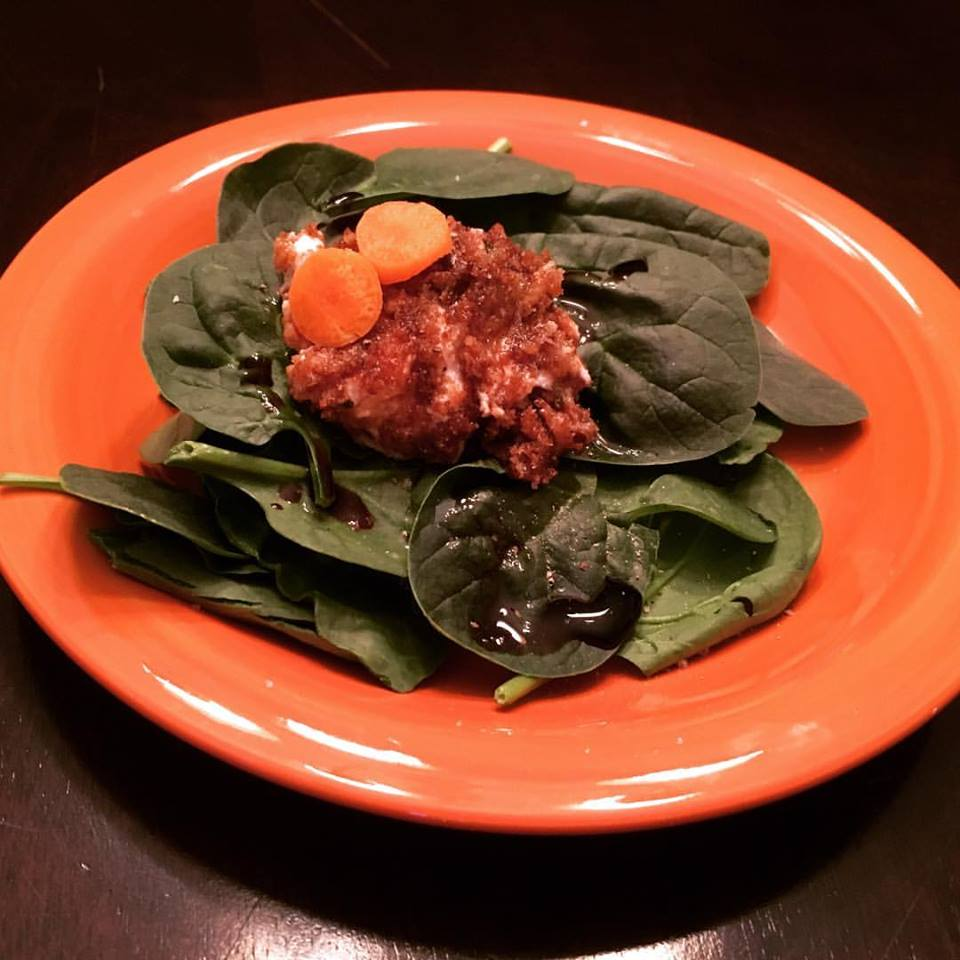 Spinach Salad with Baked Goat Cheese Linda at Bit of Flavor