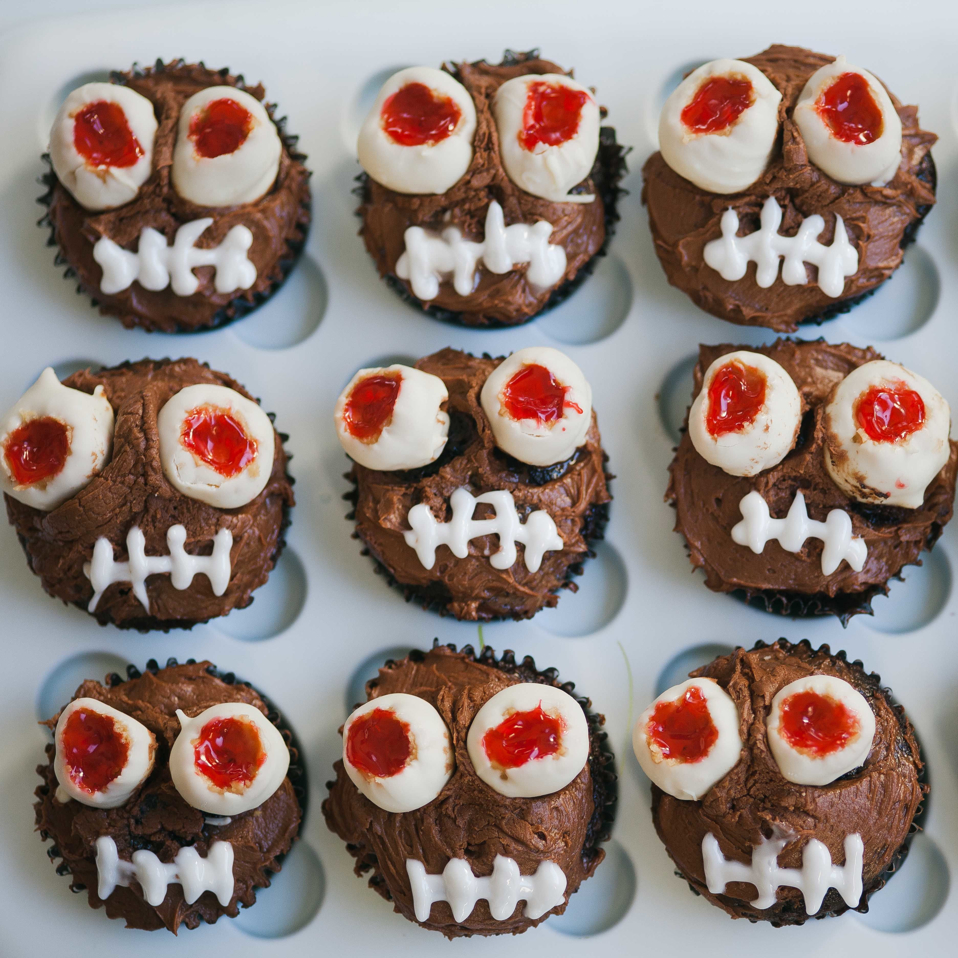 Halloween Chocolate Cupcakes with Monster Peanut Butter Eyes AllrecipesPhoto