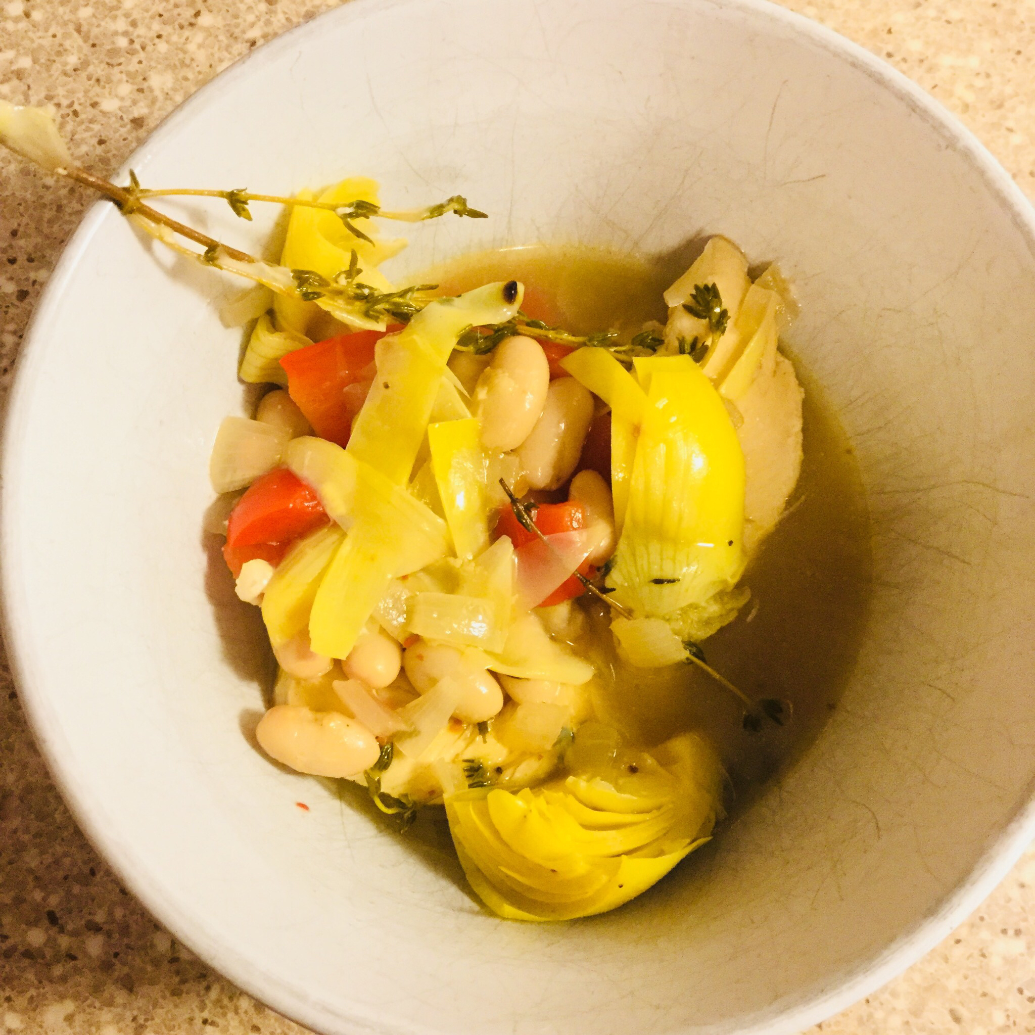 Braised Chicken and Artichoke Hearts with Lemon, Cherry Peppers and Thyme