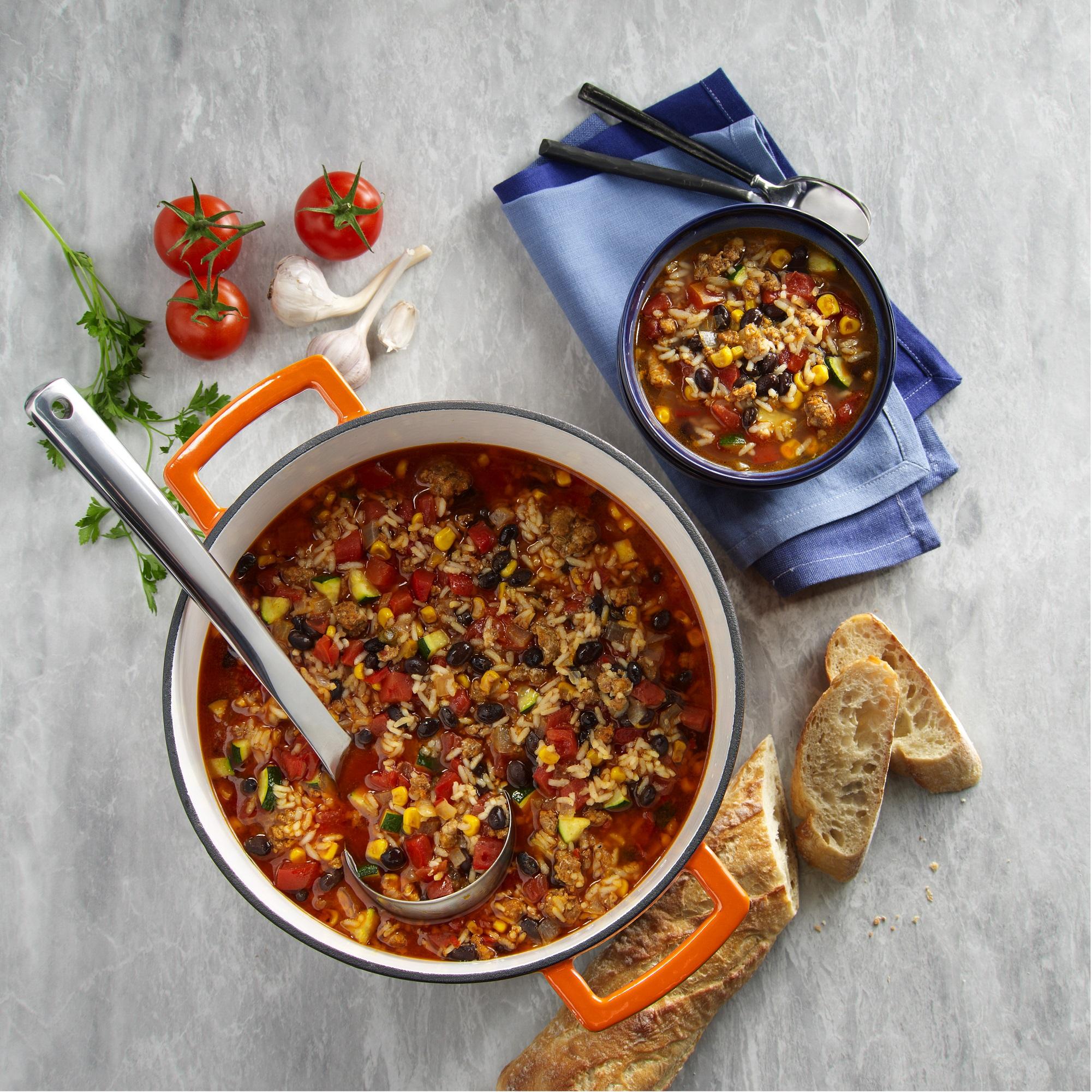 Savory Chorizo Sausage, Rice & Bean Soup