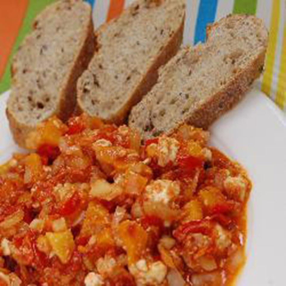 Vegetarian Greek Bell Pepper and Feta Bake