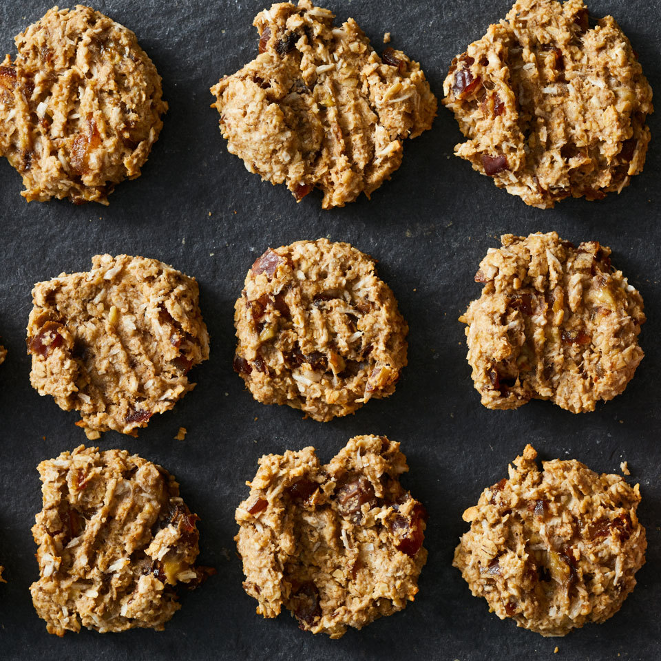 Classic oatmeal cookies without all the sugar, these better-for-you gluten-free treats get their sweetness from ripe bananas and chopped dates. Source: EatingWell.com, October 2017