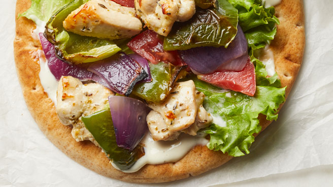Charred Vegetable & Chicken Pitas with Garlic Mayo Trusted Brands