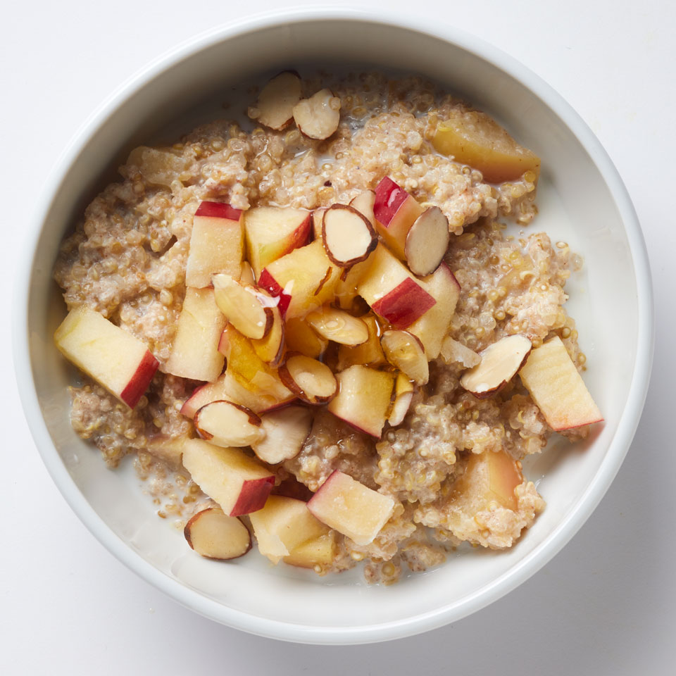 Move over, oatmeal! Get a satisfying serving of healthy whole grains in the morning with this breakfast quinoa bowl. Source: EatingWell Magazine, November/December 2017