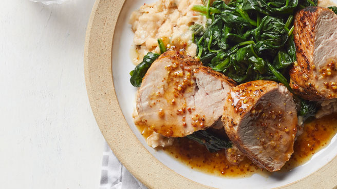Honey-Mustard Pork with Spinach & Smashed White Beans Trusted Brands