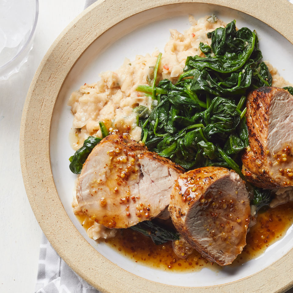 Honey-Mustard Pork with Spinach & Smashed White Beans Allrecipes Trusted Brands