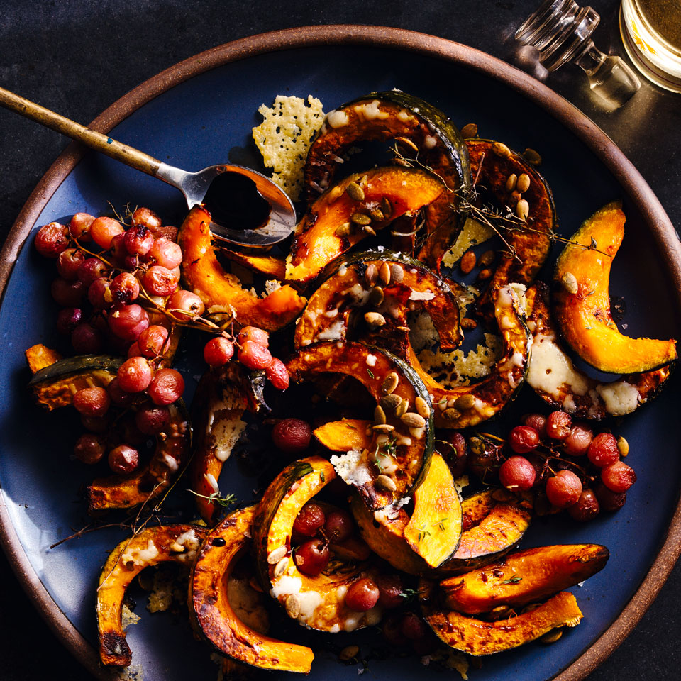 For this healthy winter squash recipe, we roast grapes in a 450°F oven for a bit to intensify their flavor. We pair them here with kabocha squash, but butternut or acorn would also work. Serve alongside a green salad and roasted chicken for a hearty dinner.