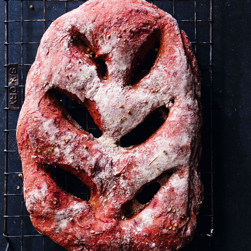 Whole-Wheat Beet Fougasse Jonathan Stevens