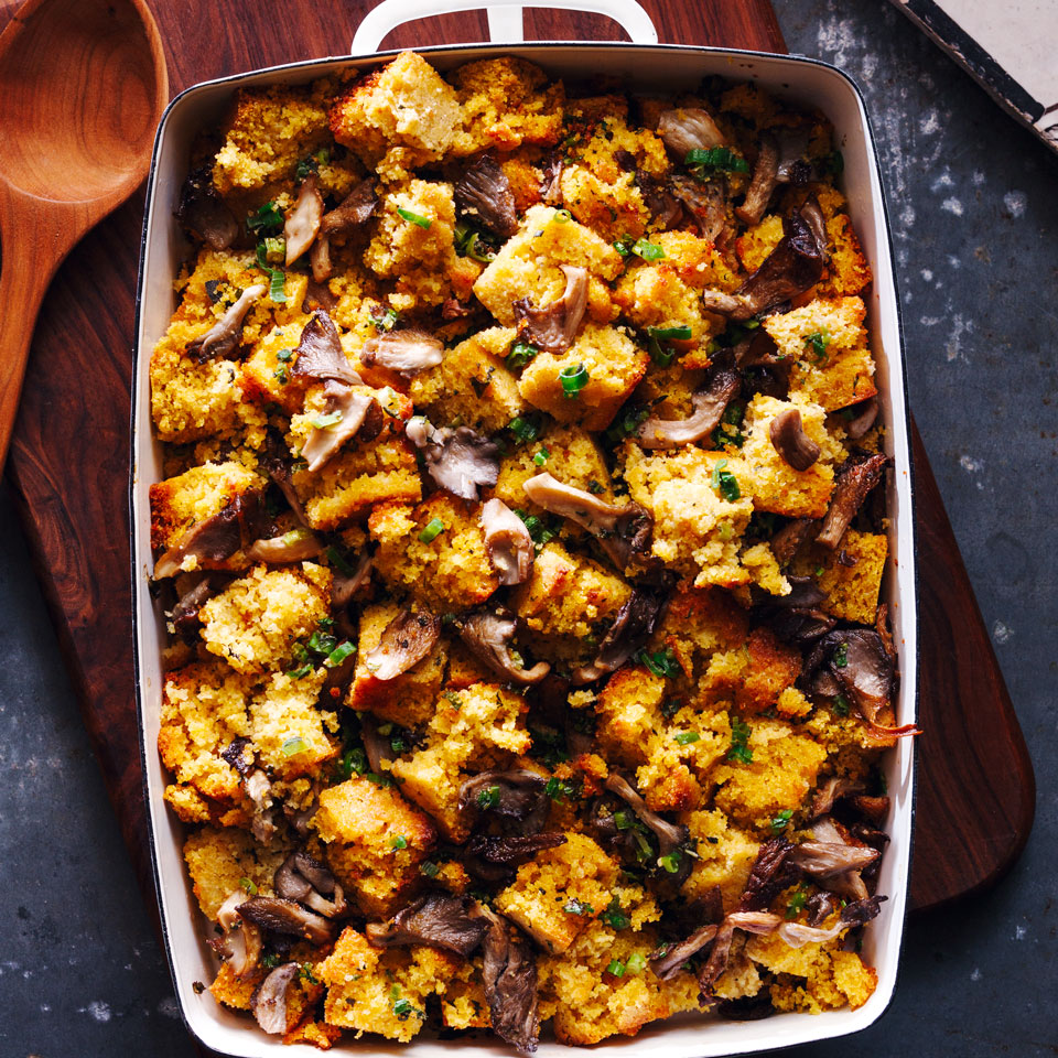 Mushrooms are a rich, meaty addition in this healthy cornbread stuffing recipe. Here we use oyster mushrooms, but you can use any variety you like. If you have time, bake the cornbread a day or two in advance so it has time to dry out a bit, which lets it absorb the flavors more readily.