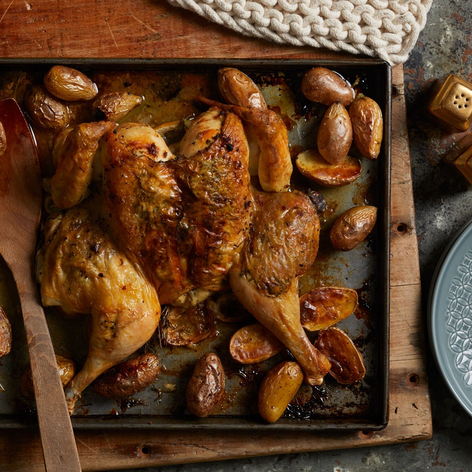 Lemon-Herb Roasted Spatchcock Chicken & Potatoes Trusted Brands
