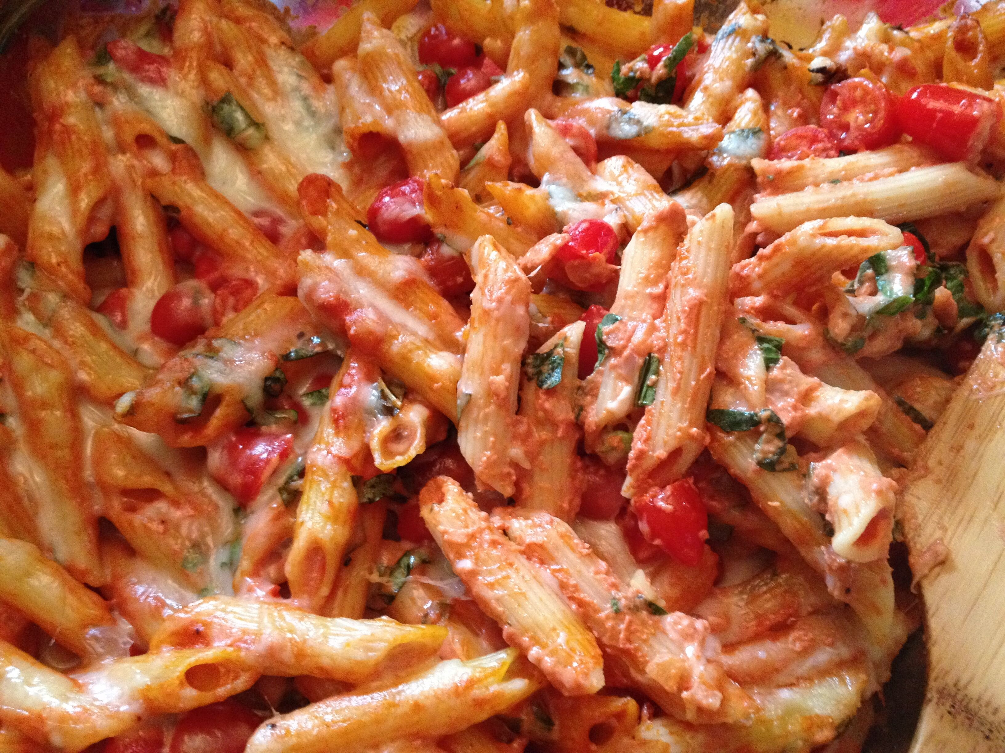 back to creamy pasta bake with cherry tomatoes and basil recipe
