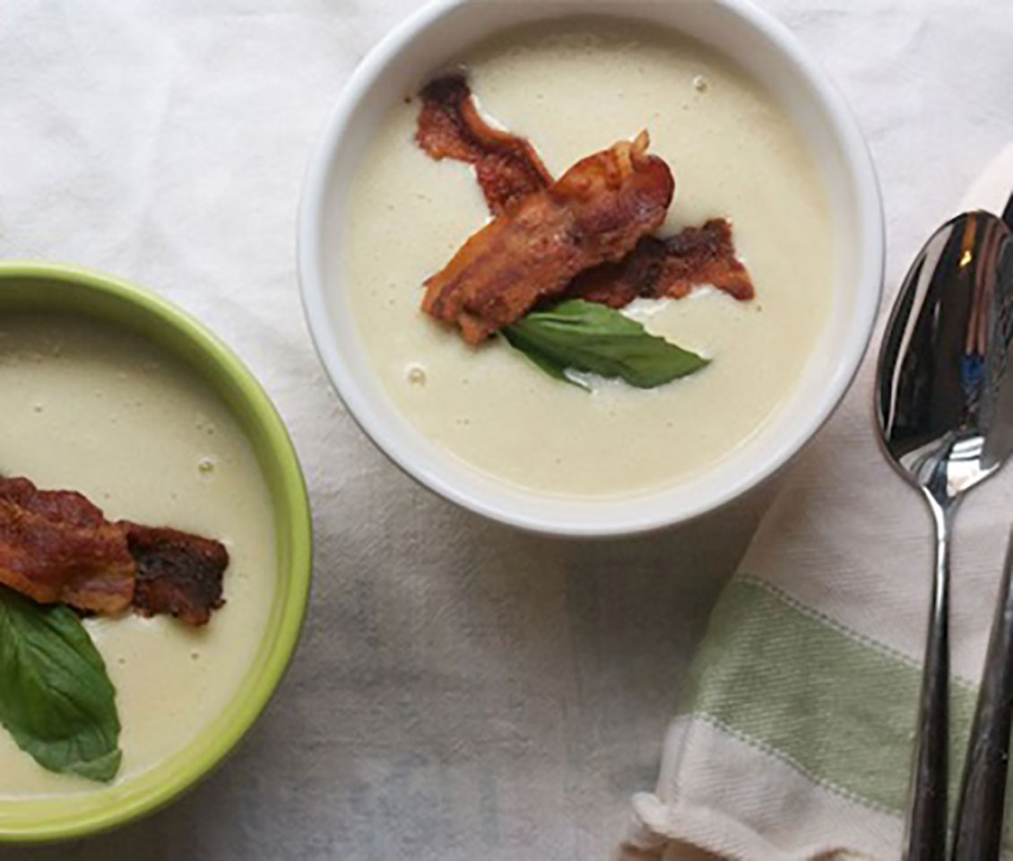 Creamy Corn Soup with Crispy Bacon