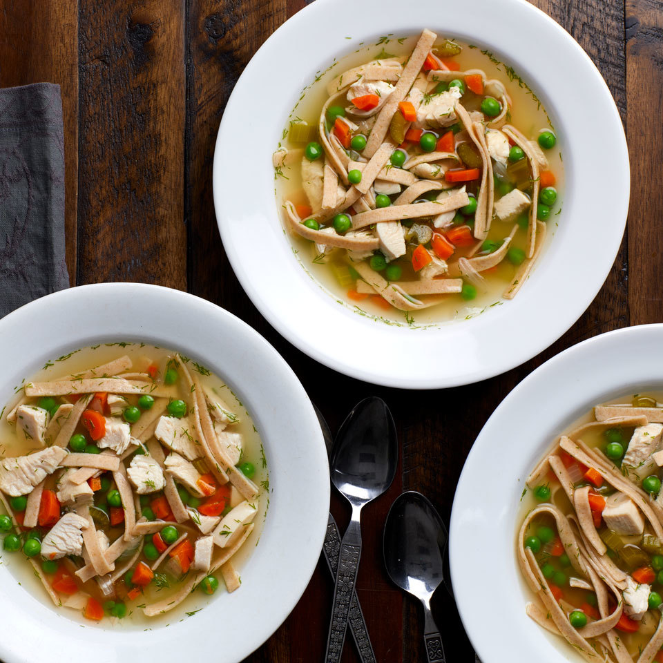 Not only does this chicken noodle soup recipe utilize the crock pot for a set-it-and-forget-it easy dinner, you can also prep all the ingredients ahead of time and store them away in the freezer to pull out on a day where you forgot to plan dinner. That's a meal-prep win! Just make sure you thaw the food before adding it to the slow cooker--otherwise it will remain at an unsafe temperature for too long. Source: EatingWell.com, October 2017