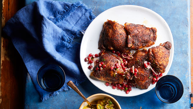 Coffee-Rubbed Chicken Thighs with Pomegranate Salsa Trusted Brands