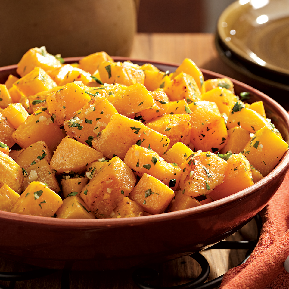 Oven-Roasted Squash with Garlic & Parsley EatingWell Test Kitchen
