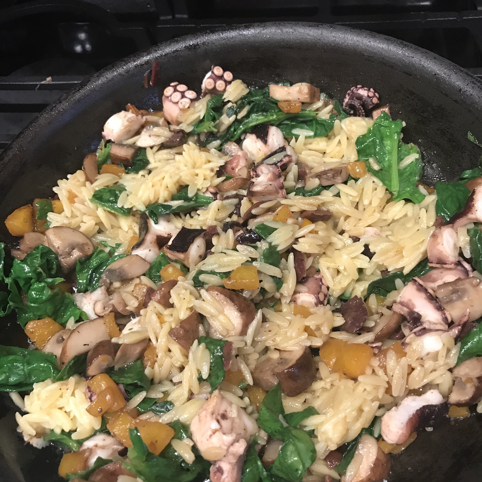 Orzo and Octopus Skillet Cooking Maniac