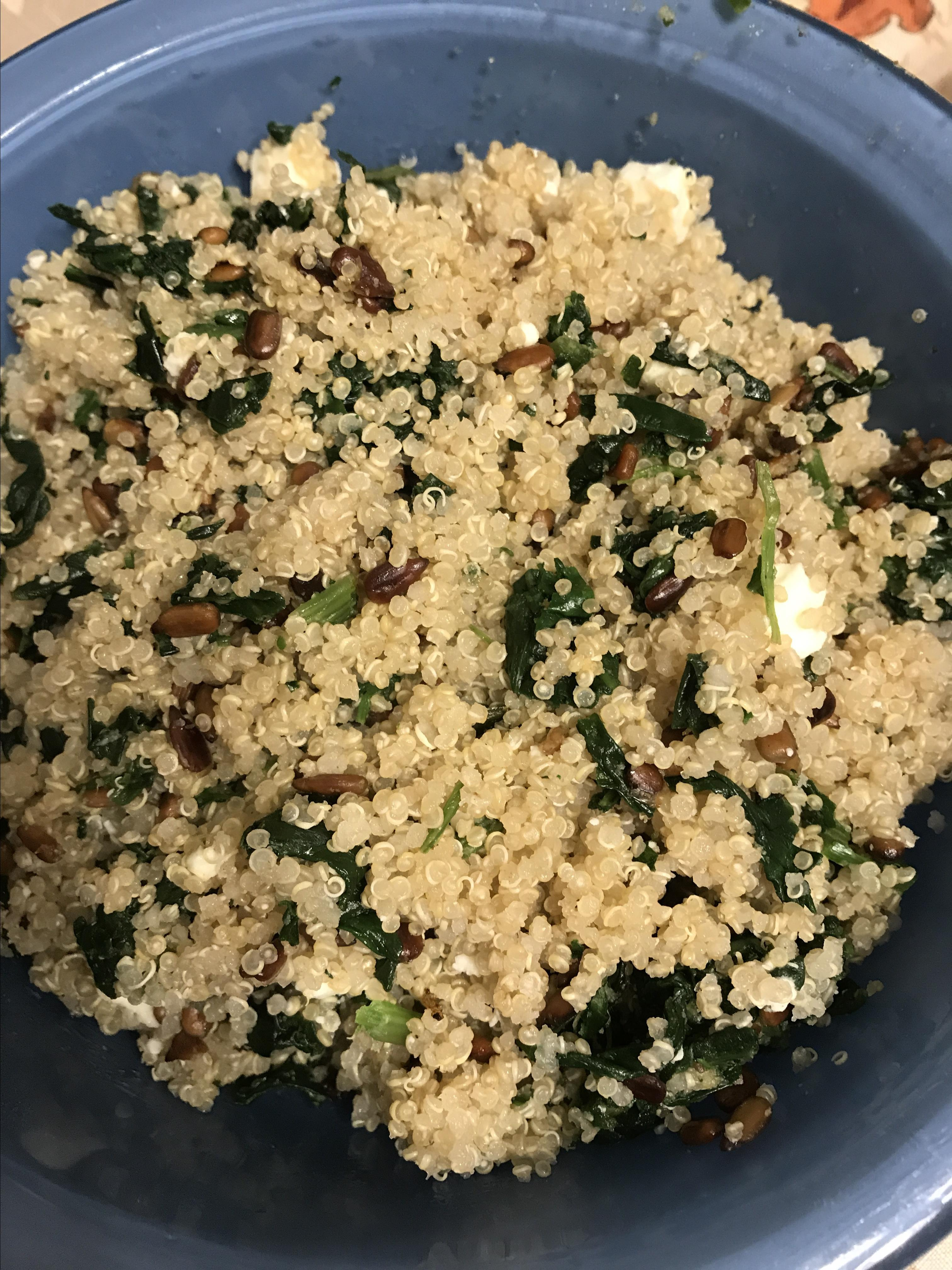 Cheesy Quinoa Pilaf with Spinach